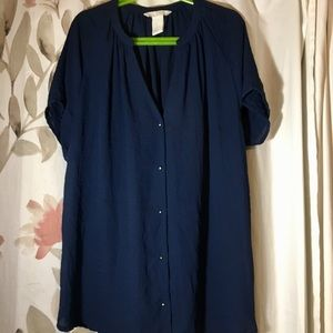 Blue Blouse with Silver Buttons